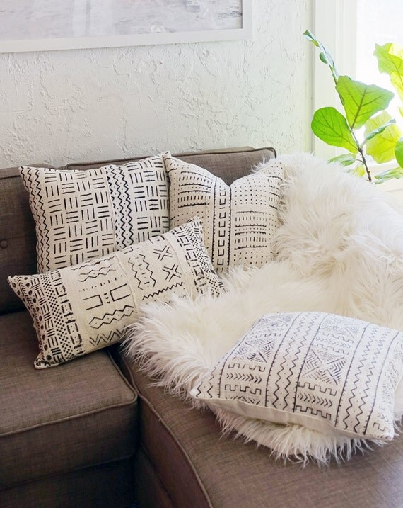 16 X 16 African Mudcloth Throw Pillow Cover White