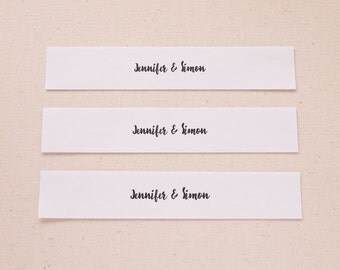 Hand-Lettered Names Customized Belly Bands for Wedding Invitations or Announcements