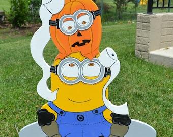 Halloween Pumpkin Minion lawn stake yard art