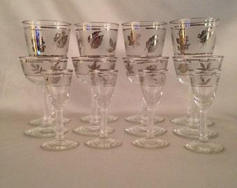 Set Libbey Silver Leaf Glassware,Set of 12 Libbey silver leaf foliage glassware,Libbey silver leaf,Libbey foliage,Vintage Libbey foliage Bar