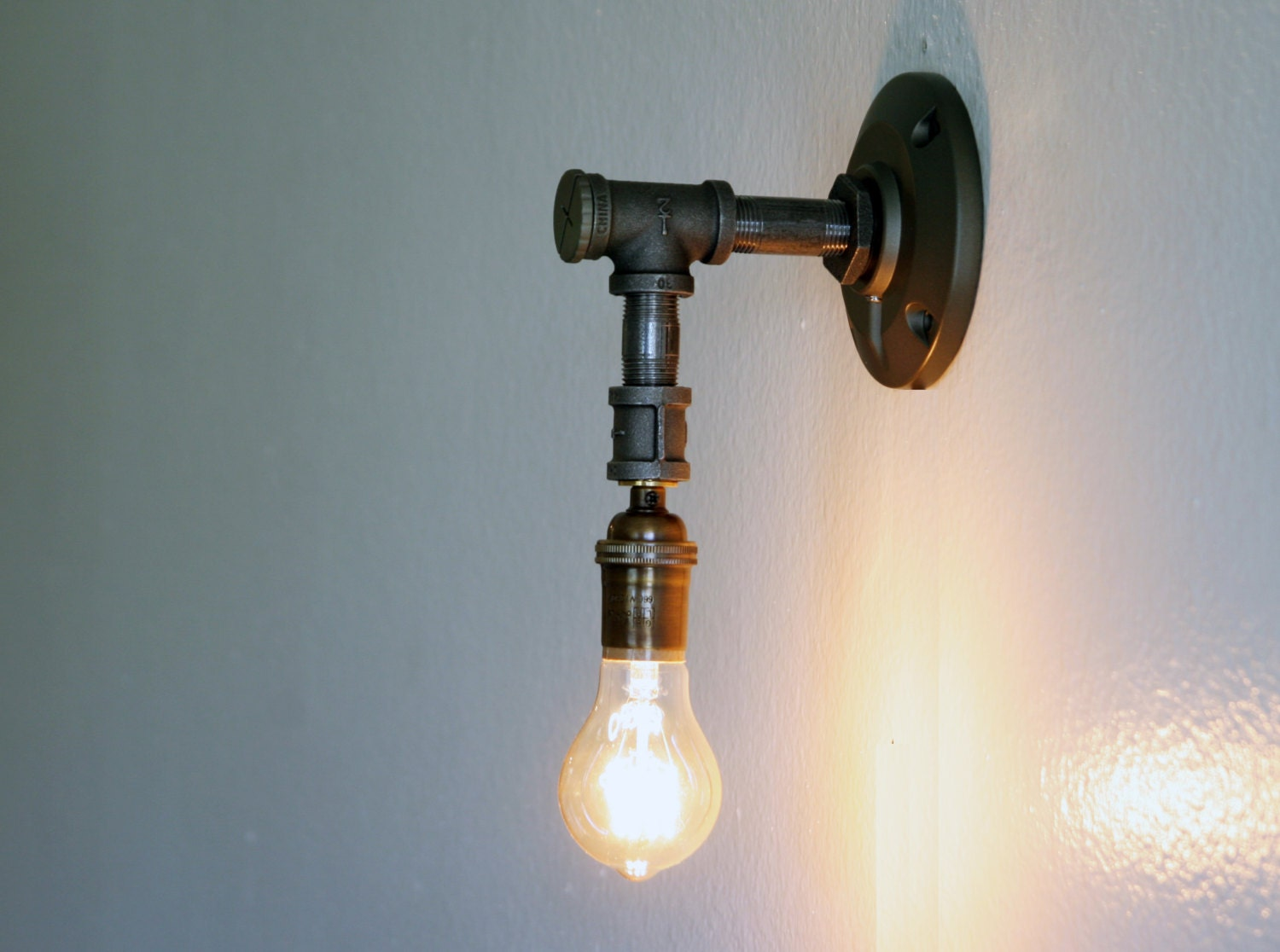 Industrial Looking Wall Sconces : Industrial style wall sconce Edison lamp sconce by Dancingapple