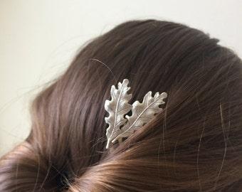 Double Oak Leaf Hair Comb Silver Plated Oak Leaf Bridal Hair Accessory Woodland Wedding Oak Leaf Small Oak Leaf bridal Jewelry