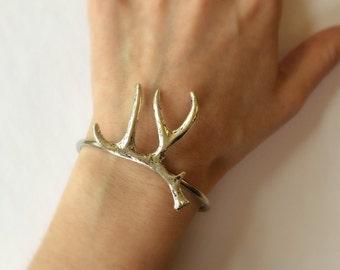 Antler Bracelet Silver Deer Antler Bracelet Antler bangle deer Bracelet Bangle Artisan Jewelry Antler Jewelry Silver stacking bracelet