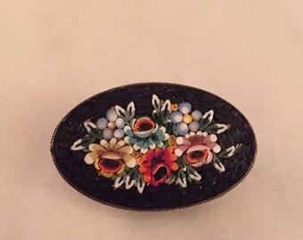 Vintage micromosaic framed brooch signed Italy