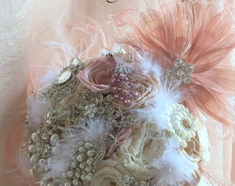 Bridal bouquet/1920 bouquet/The Pink Peacock/Blush Pink and Ivory bouquet/Lace bouquet/Handmade bouquet/this is a deposit/made to order/95+