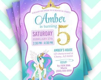 My Little Pony Birthday Invitation - Celestia Pony - Magical Birthday Invitation -DIY Printable