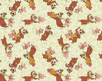 Yogi Bear - Yogi & Boo Fabric - Light Green - sold by the 1/2 yard