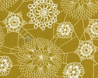 Spellbound Doily Web Fabric - Mustard - Sold by the 1/2 Yard