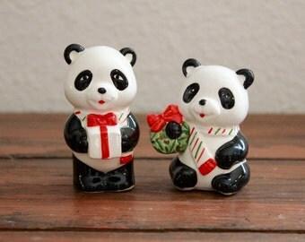 Vintage Christmas Panda Figures/ Lefton/ Made in Japan