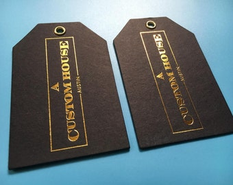 500 Gold foil Custom hang tag, Swing ticker, Gold stamped clothing tag, WITH metal hole, 600G