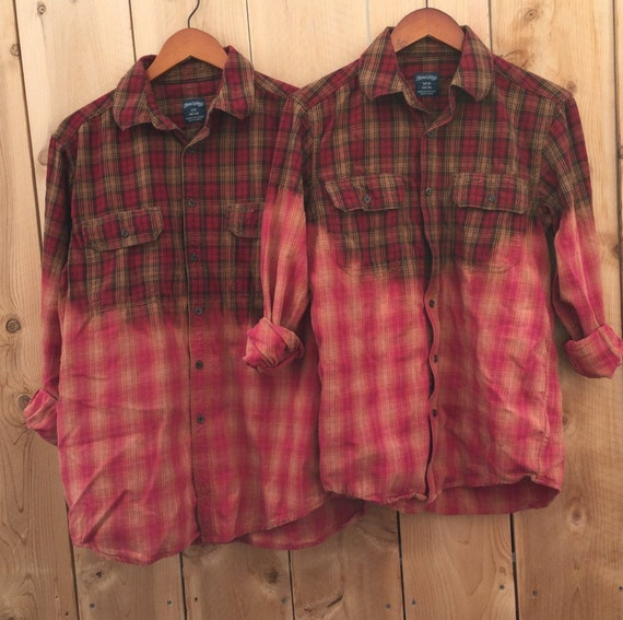 his and hers matching flannel shirts grunge s l bleached