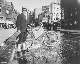 Old Bicycle Photo Photograph Print Wall Art Decor Restored Black White B W NYC Bike Messenger