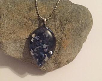 Blue handmade resin pendant