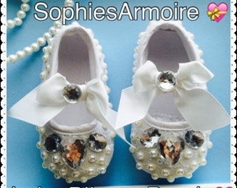 Baby Shoes*Girls Crib Shoes*Infant Shoes*Newborn Shoes*White Bling Shoes*