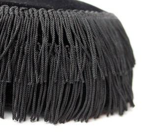 Vintage Black Velvet Fringe Hat, Pillbox, Unique and Fancy