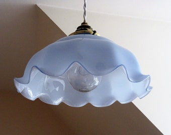 Antique light shade 1900's french blue Opaline with his original lamp shade ceiling mount Belle Epoque/illuminati10