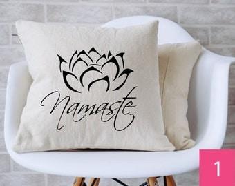 "Namaste Lotus Flower Throw Pillow (14"" x 14"") - Insert Included"