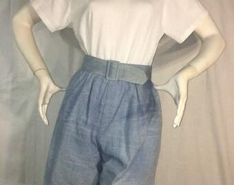 Cute Vintage //80's //White and Denim //Jumper//Romper//