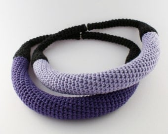 Crochet violet necklace, Unique necklace, Statement jewelry, Yarn necklace,