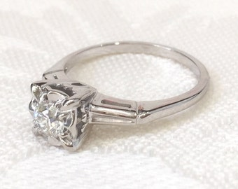 Vintage Rings, Engagement Rings, 1940's Diamond Engagement Ring, 14K White Gold Bridal Ring, European Cut Round Diamond Engagement Ring