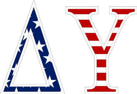 Delta upsilon american flag greek letter sticker 25 for Delta upsilon letters