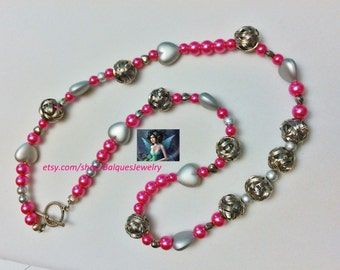 Pink and Silver Necklace (One Of A Kind) N#984
