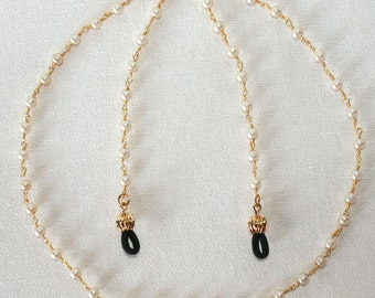 Gold and Pearl Beaded Eyeglass Chain
