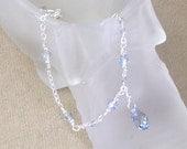 Something Blue Anklet in Swarovski Blue Shade Crystal, sterling bridal blue anklet, lucky brides anklet, blue wedding ankle bracelet