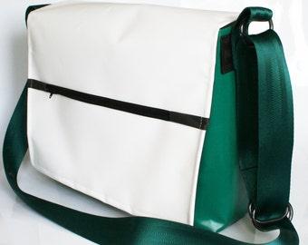 Tarpaulin bag Green White recycled messenger bag