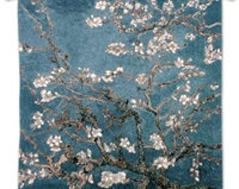 """Almond Blossom - 35""""x35"""" Tapestry Wall Hanging"""