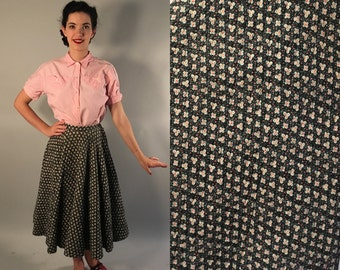 Vintage 1950s Skirt | Calico Floral Quilted Circle Skirt | Extra Small