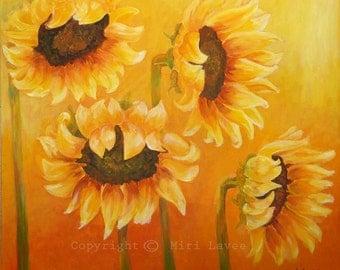 Flower Painting Canvas Wall Art, Sunflower Painting, Sunflower Decor, Painting Landscape, Art Painting Flower on Canvas, Sunflower Canvas