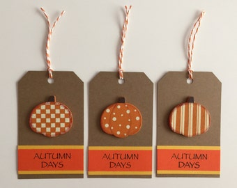Handmade Set of 3 Pumpkin Tags, Scrapbooking, Card Making, Gift Tags, Primitive