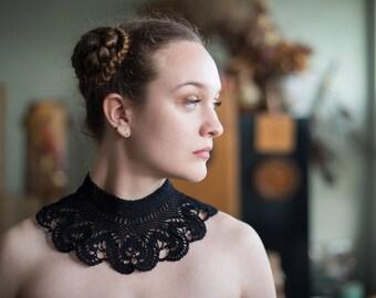 Hand made crochet collars and cuffs - detachable collar and cuffs - Hand made collar - Crochet lace collar - Blak knitted collar - Choker