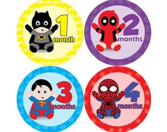 Baby Monthly Stickers - Super Hero Babies - FREE SHIPPING - Hard Copy Marvel DC Superman Batman Wolverine Avengers XMen Spiderman