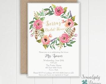 Boho Bridal Shower Invitation Printable