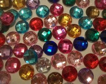 Set of 15 Acrylic Flatback Faceted Gems - Embellishments