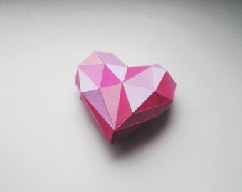 DIY 3D Papercraft Valentine Heart - PDF, Printable Model, Template