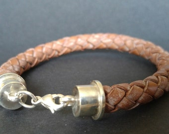 Round braided tan leather bracelet with Sterling Silver caps