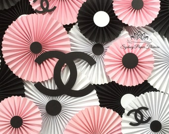Chanel inspired paper fans backdrop/Paper rosettes/Pinwheels/Wedding backdrop/Christening/Baby shower/Bridal shower/Birthday party