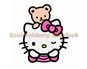 cute cat embroidery design for machine. fill stitches. 3 sizes. Instant Download.