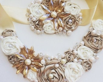 Embroidered necklace with satin ribbon and pearls