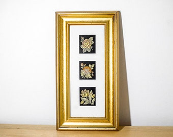 Framed collection of Embroidered Cigarette Cards