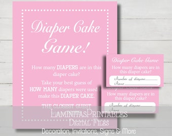 diaper cake baby shower, diaper cakes, baby shower games, baby girl diaper cake, pink diaper cake, baby diaper cake, guess how many BS01