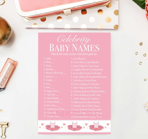 baby shower game celebrity baby name game ballet baby shower baby