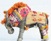 Large Vintage Indian Folk Art Bull / Rajasthan India / Shisha Mirror Embroidered Fabric Bull / Bohemian Decor