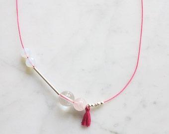 """minimalistic necklace """"Susu"""", neon pink, 925 silver"""