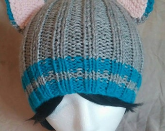 Grey/Blue Animal Ear Hat