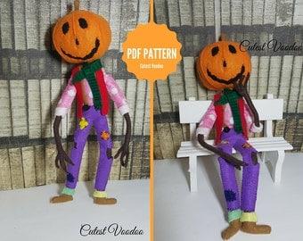 PDF PATTERN. Return to Oz Jack Pumpkinhead felt Pattern