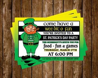St. Patrick's Day Party Invitation Digital Download Leprechaun Gold